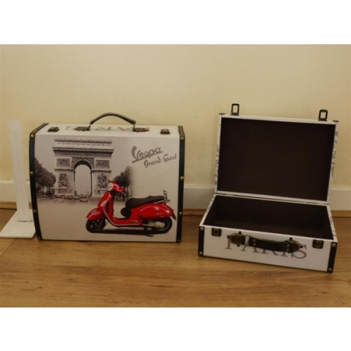 Set of 2 Vespa/Paris Wooden Vanity Storage Cases / Boxes - White